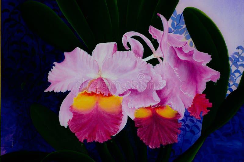 Waterverf bloemen naadloos patroon met orchideebloemen royalty-vrije stock afbeeldingen