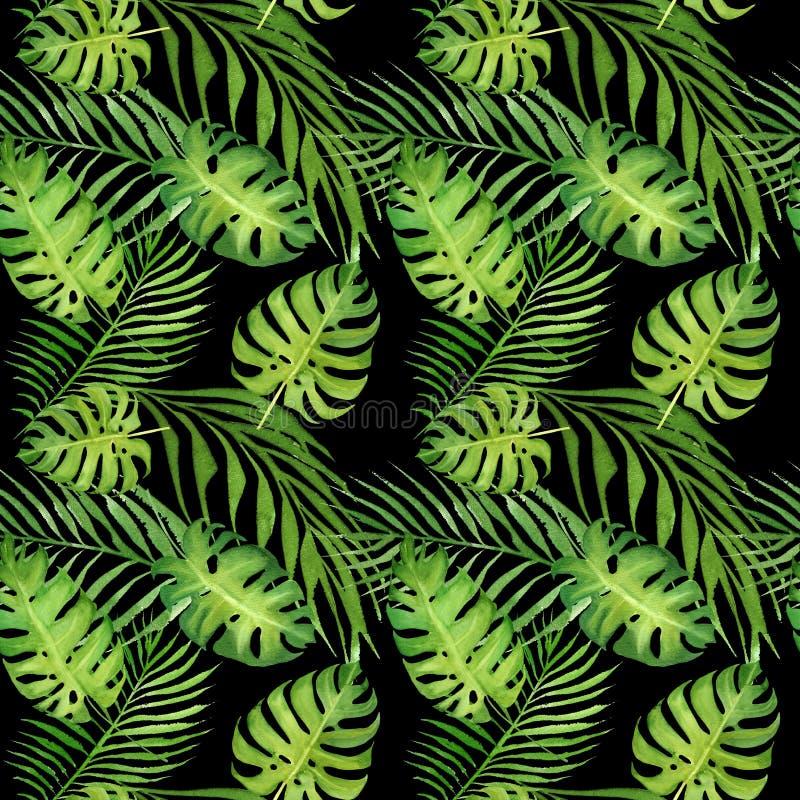 Waterverf bloemen tropisch naadloos patroon met groene monsterabladeren en palmbladeren op zwarte royalty-vrije illustratie