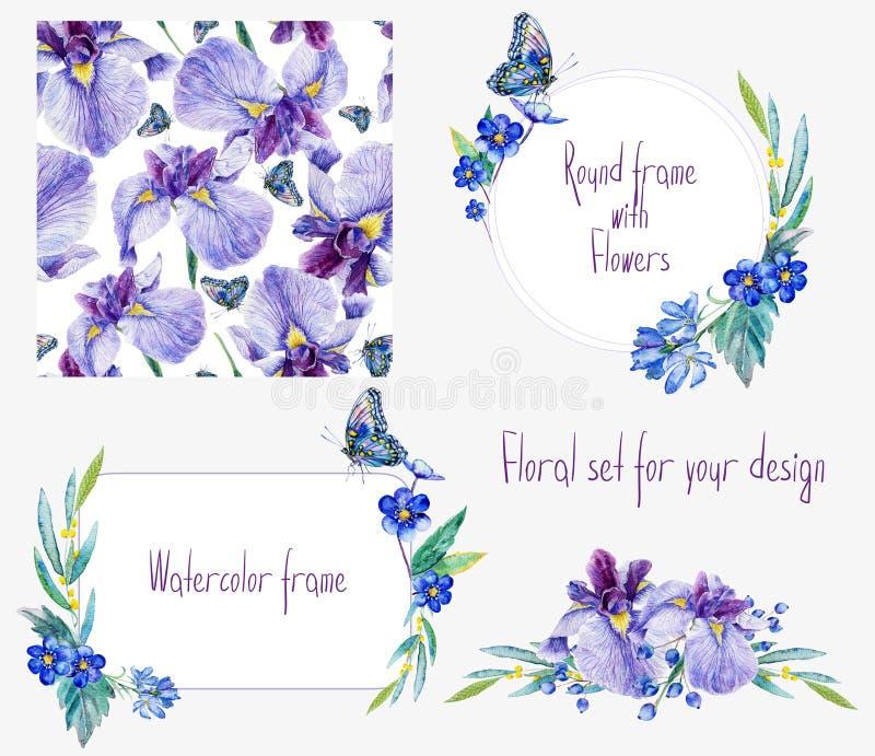Waterverf bloemen vastgestelde malplaatjes met irissen voor uw ontwerp stock illustratie