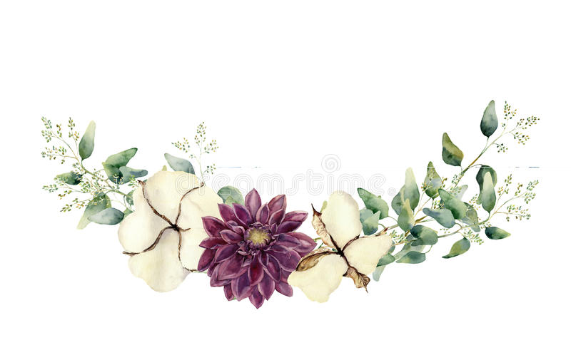 Waterverf bloemendieelementen op witte achtergrond worden geïsoleerd De uitstekende die stijl wordt geplaatst met endeed eucalypt stock illustratie