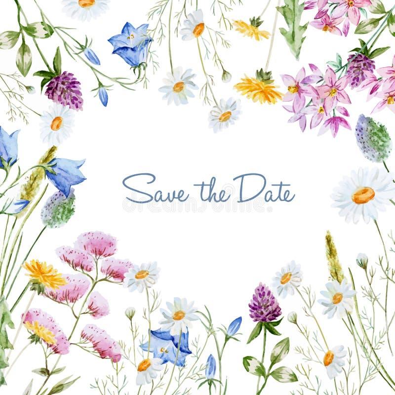 Waterverf bloemenkader stock illustratie