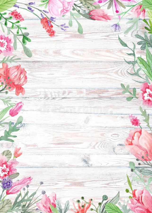 Waterverf Bloemenkader op Houten Achtergrond stock illustratie
