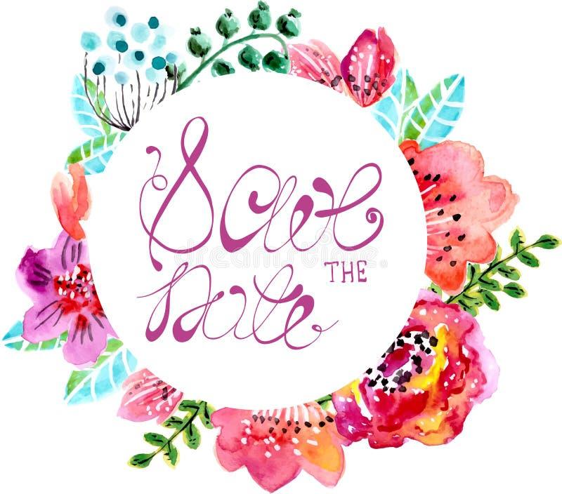 Waterverf bloemenkader voor huwelijksuitnodiging royalty-vrije illustratie