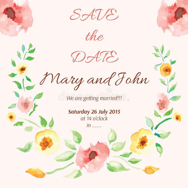 Waterverf bloemenkader voor huwelijksuitnodiging stock illustratie