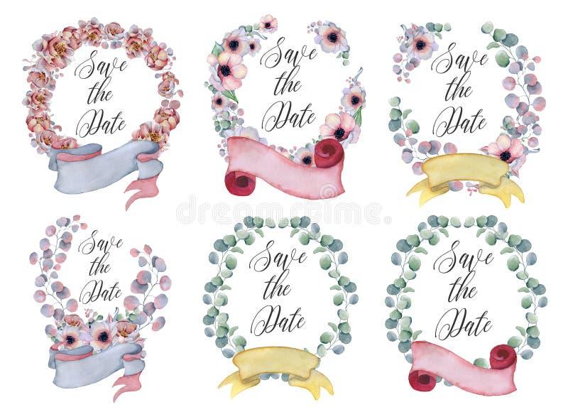 Waterverf bloemenkronen met lint voor uw tekst Bloemen banner De uitnodiging van het huwelijk stock fotografie