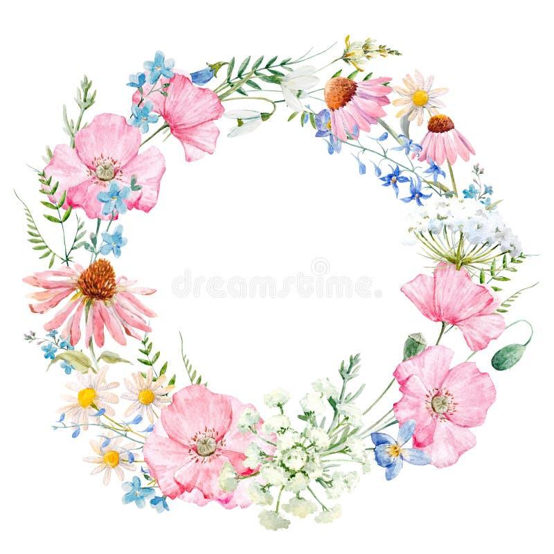 Waterverf bloemenkroon royalty-vrije illustratie