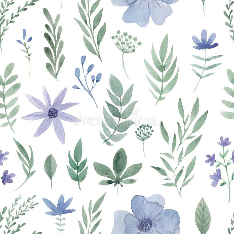 Waterverf bloemenpatroon stock illustratie