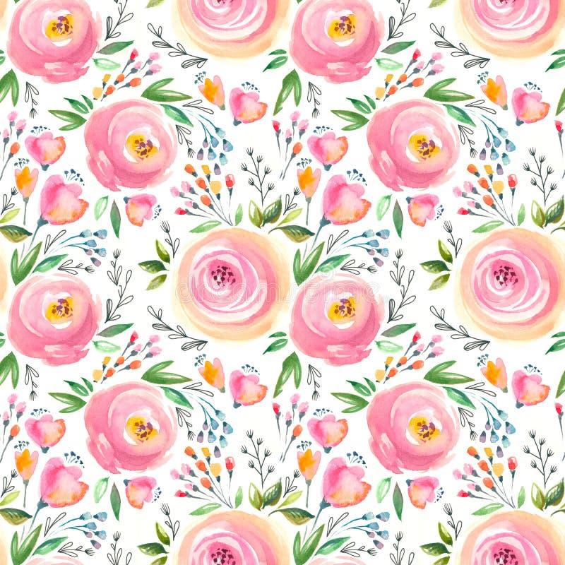 Waterverf bloemenpatroon en naadloze achtergrond Geschilderde hand Zacht ontwerp stock illustratie