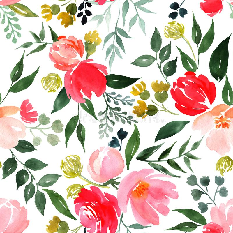 Waterverf bloemenpatroon vector illustratie