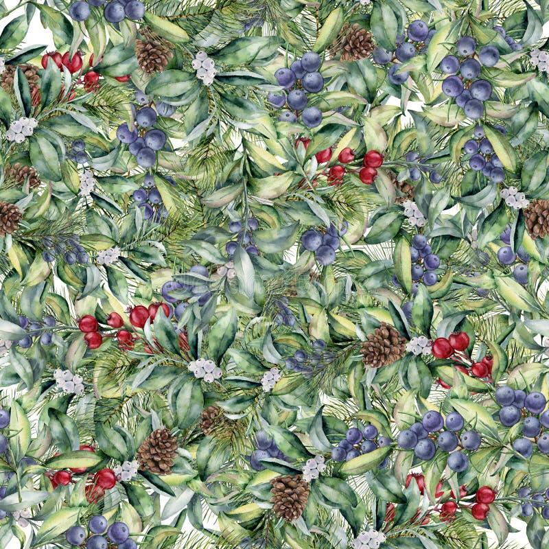 Waterverf bloemenpatroon met eucalyptusbladeren en bessen De hand schilderde exotische tak met wit, rood en blauw stock illustratie