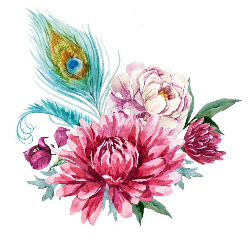 Waterverf bloemensamenstelling stock illustratie