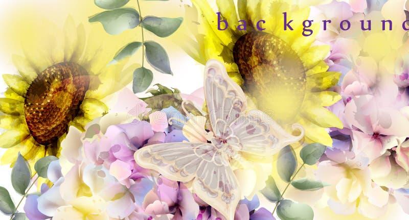Waterverf bloemenvector als achtergrond Zonnebloem en kleurrijke de lentedecors stock illustratie