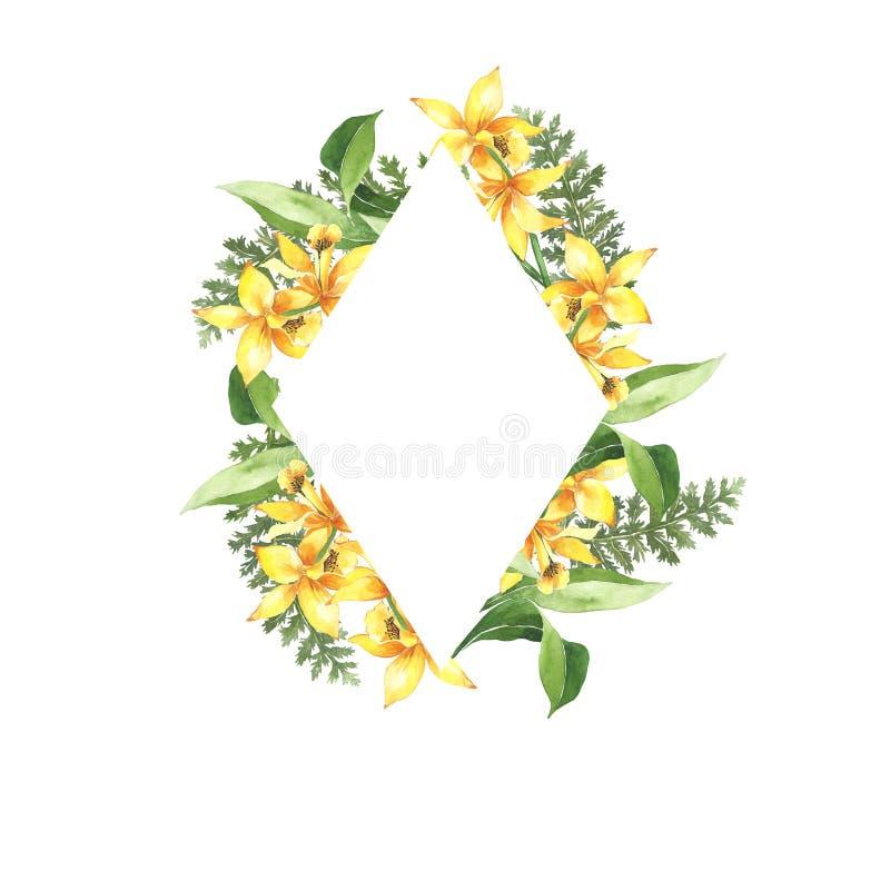 Waterverf botanisch bloemenkader Gele heldere lelies De uitnodiging van het huwelijk De zomer, de lenteontwerp, giftkaart Reeks v stock illustratie