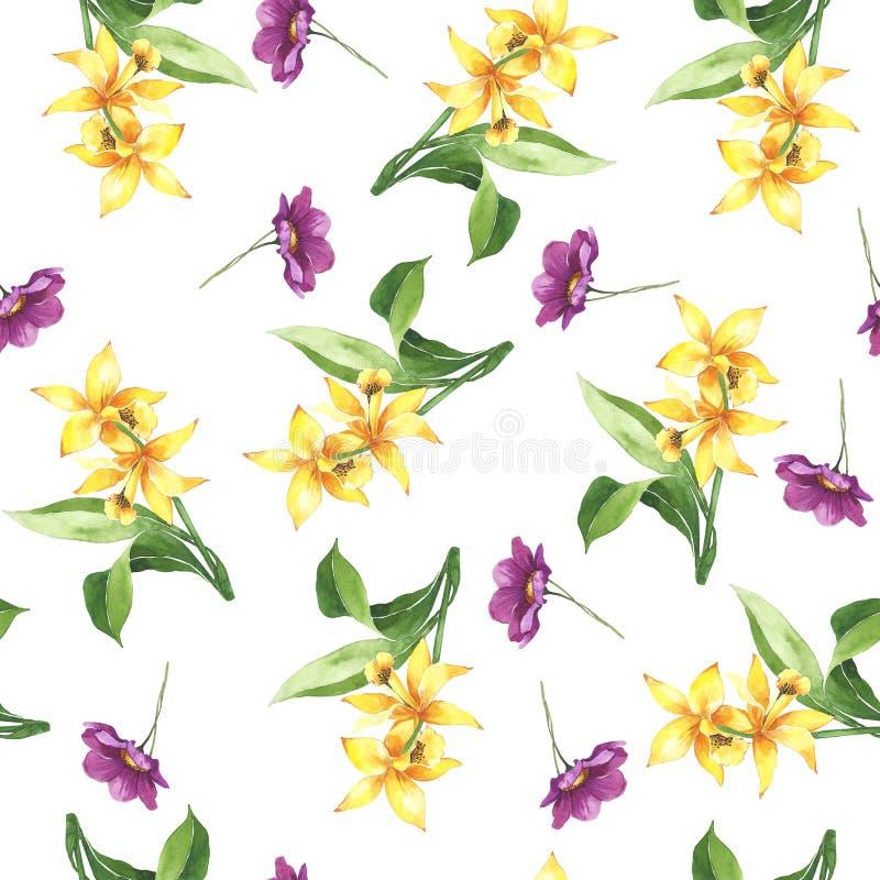 Waterverf botanische bloemendruk De zomerpatroon Verpakkend document Het decor van het huwelijk Gele heldere lelies vector illustratie