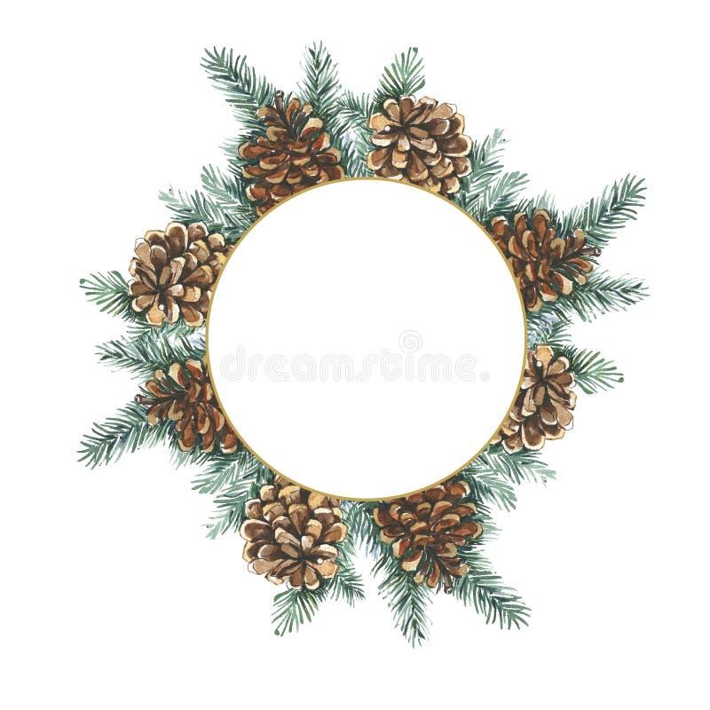 Waterverf botanische illustratie Het blauwe magische frame van Kerstmis Groene takken, kegels De uitnodiging van het huwelijk, gr stock illustratie