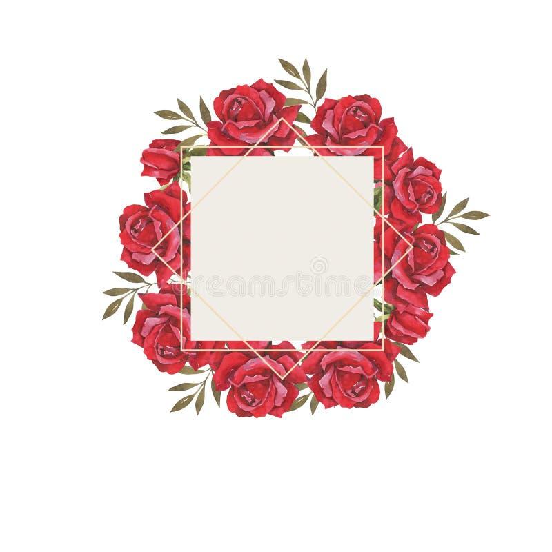 Waterverf botanische illustratie met rode rozen Huwelijkskaders, de kaart van de huwelijksuitnodiging Felicitatie kaart vector illustratie