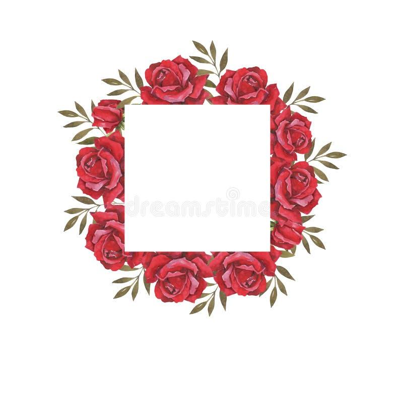 Waterverf botanische illustratie met rode rozen Huwelijkskaders, de kaart van de huwelijksuitnodiging Felicitatie kaart stock illustratie