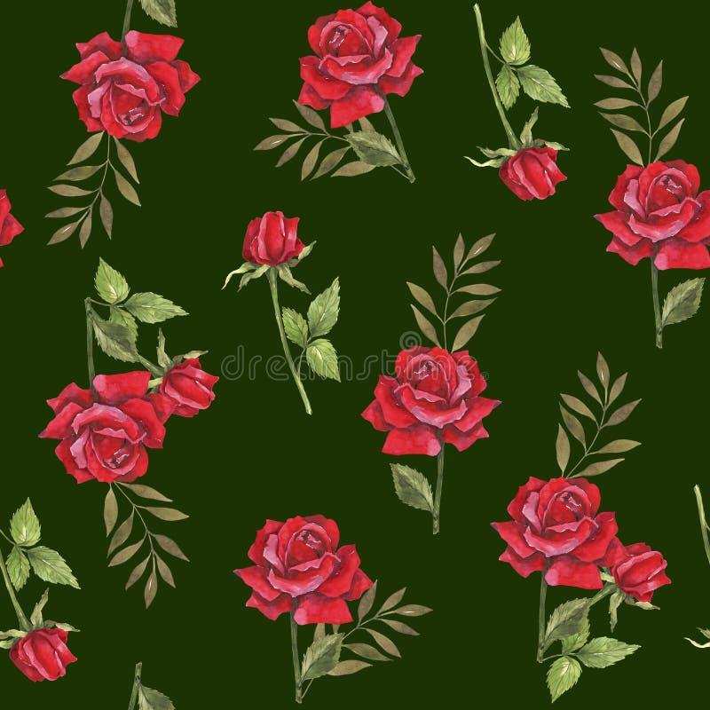 Waterverf botanische illustratie met rode rozen Ontwerp voor stof Naadloos BloemenPatroon Het ontwerp van het huwelijk Felicitati royalty-vrije illustratie