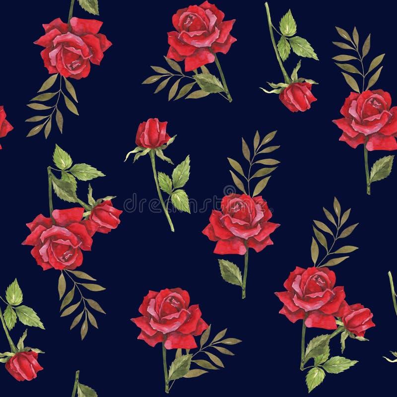 Waterverf botanische illustratie met rode rozen Ontwerp voor stof Naadloos BloemenPatroon Het ontwerp van het huwelijk Felicitati stock illustratie