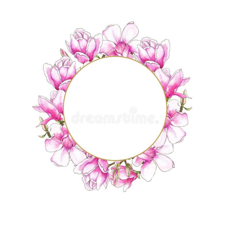 Waterverf botanische illustratie Zachte magnolia's De uitnodiging van het huwelijk De kaart van de groet Reeks van huwelijksontwe royalty-vrije illustratie