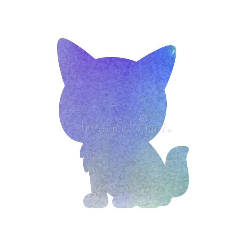 Waterverf Cat Art Silhouette Isolated Vector vector illustratie