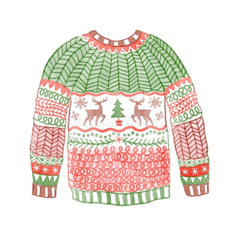 Waterverf comfortabele sweater met Kerstmisherten Getrokken hand vector illustratie