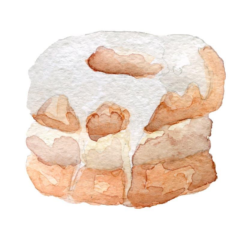 Waterverf cronut croissant en doughnutmengsel stock illustratie