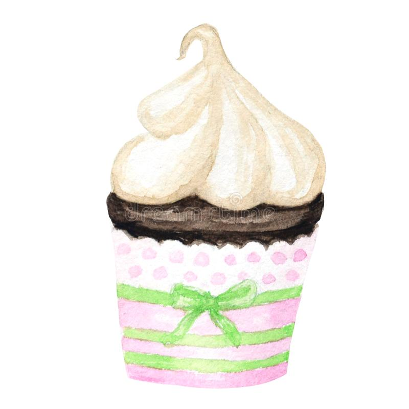 Waterverf cupcake, hand getrokken heerlijke die voedselillustratie, cake op witte achtergrond wordt geïsoleerd vector illustratie