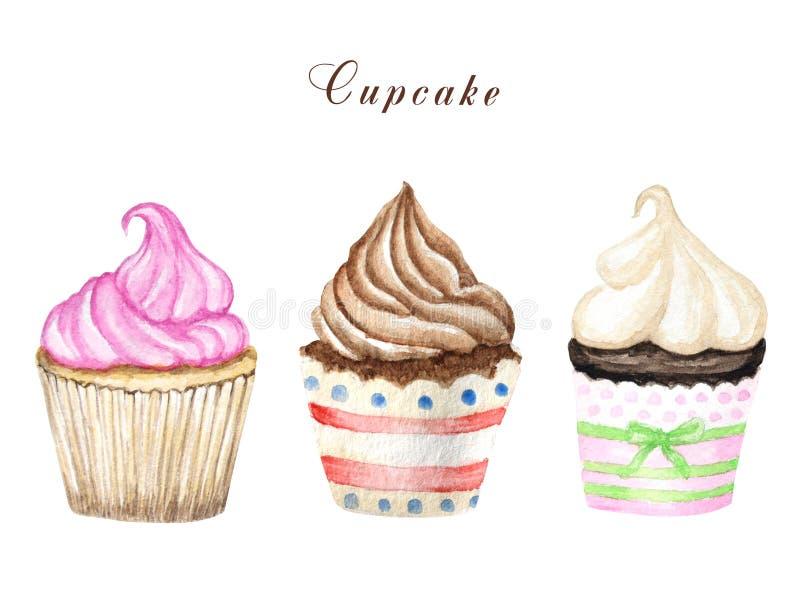 Waterverf cupcake, hand getrokken heerlijke die voedselillustratie, cake op witte achtergrond wordt geïsoleerd royalty-vrije illustratie