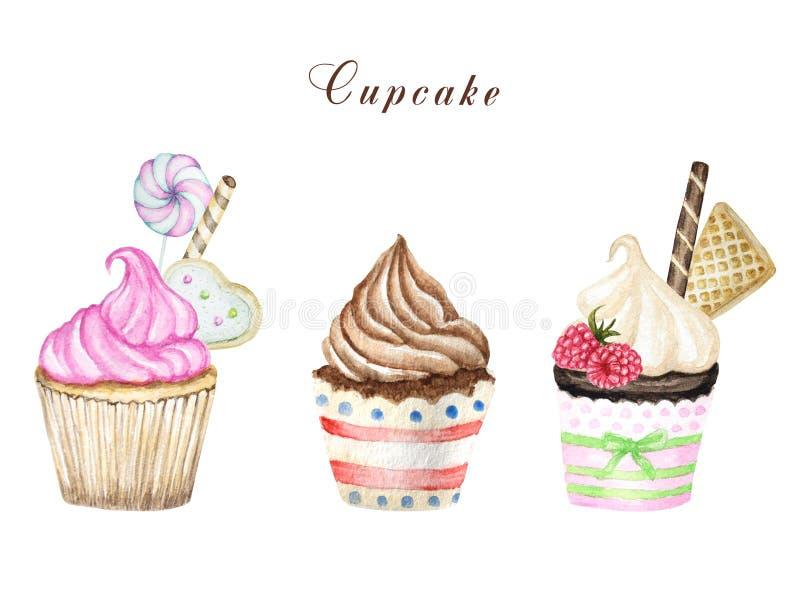 Waterverf cupcake, hand getrokken heerlijke die voedselillustratie, cake op witte achtergrond wordt geïsoleerd stock foto