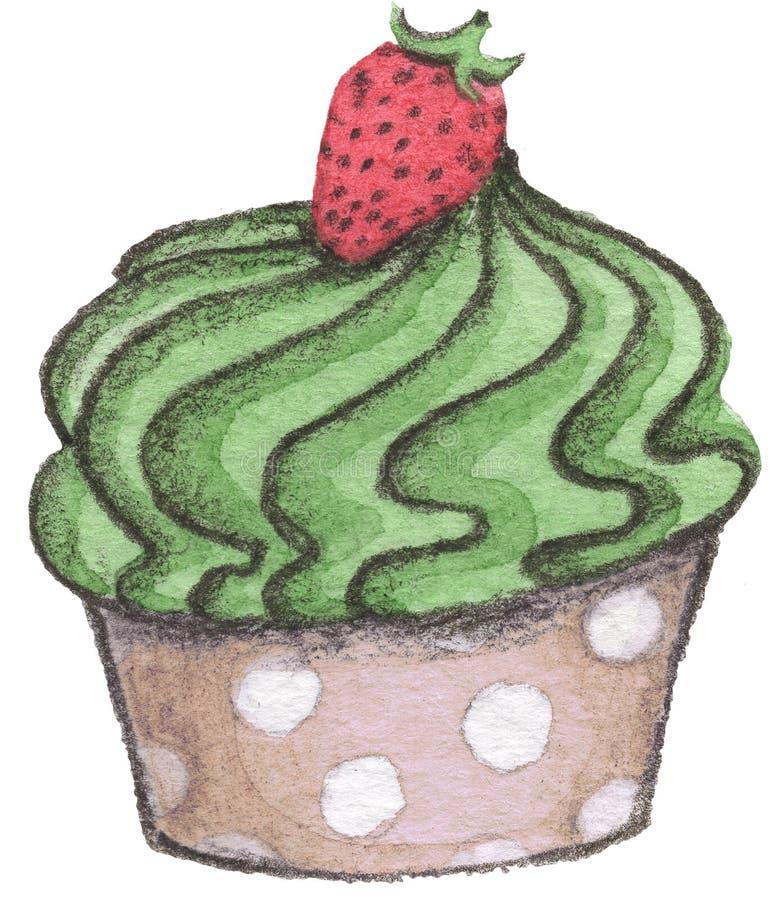 Waterverf cupcake met aardbei op witte achtergrond vector illustratie