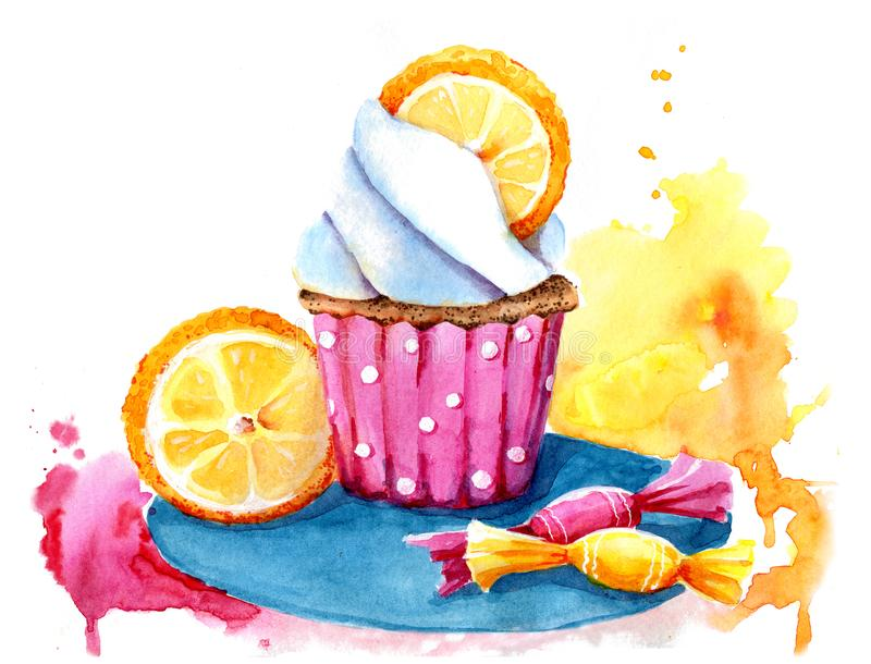 Waterverf cupcake met het vullen, sinaasappel en snoepjes Ge?soleerde Makkelijk te gebruiken voor divers menuontwerp, reclame, ko royalty-vrije illustratie