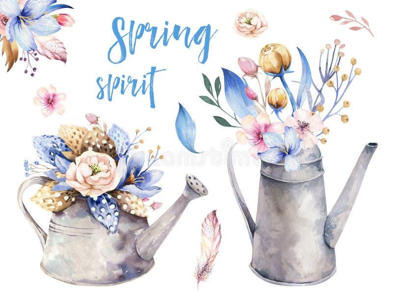 Waterverf de uitstekende het tuinieren gieter van het hulpmiddelen roestige tin voor het water geven van bloemen Hand getrokken g royalty-vrije illustratie