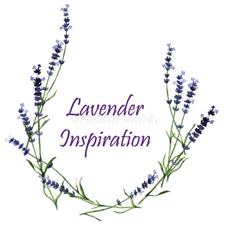 Waterverf decoratieve elementen - kroon met lavendel royalty-vrije stock afbeelding