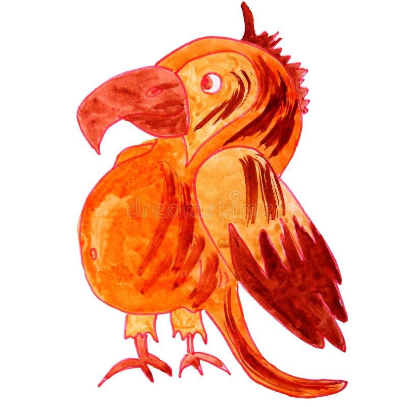 Waterverf die een papegaai van het kinderenbeeldverhaal trekken op een witte backgrou royalty-vrije illustratie