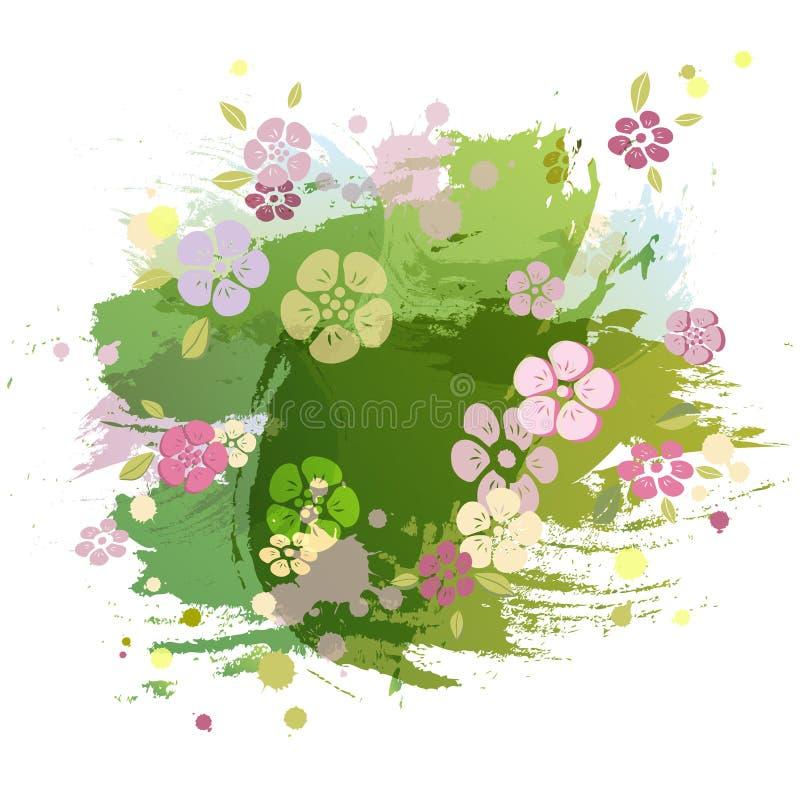 Waterverf die imitatie groene achtergrond met roze bloemen schilderen royalty-vrije illustratie