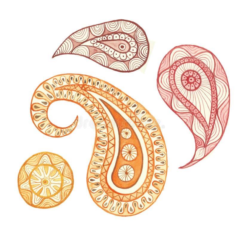 Waterverf die Indische ornament Turkse komkommer, Perzische komkommer, oosterse komkommer, Scheur schilderen van Allah, Paisley,  stock illustratie
