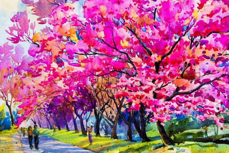 Waterverf die originele roze kleurenbloemen van Wilde himalay schilderen vector illustratie