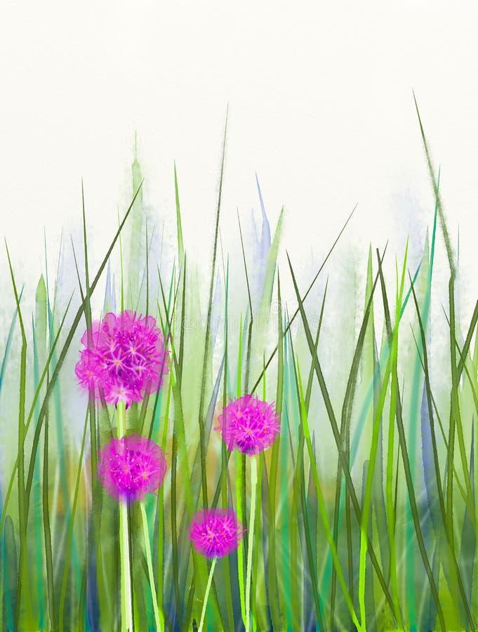 Waterverf die roze bieslookbloem over groene bladachtergrond schilderen stock illustratie