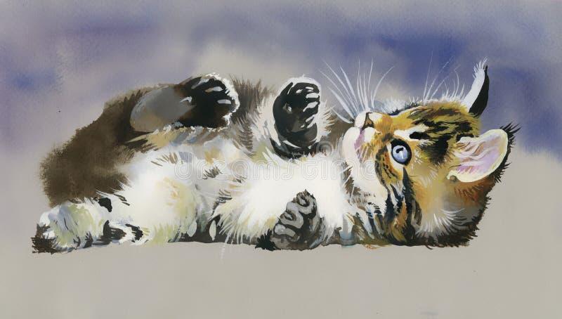 Waterverf Dierlijke Inzameling: Kat stock foto
