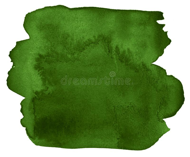 Waterverf donkergroene achtergrond met duidelijke grenzen en scheidingen De zwart-witte vlekken van de waterverfborstel stock illustratie