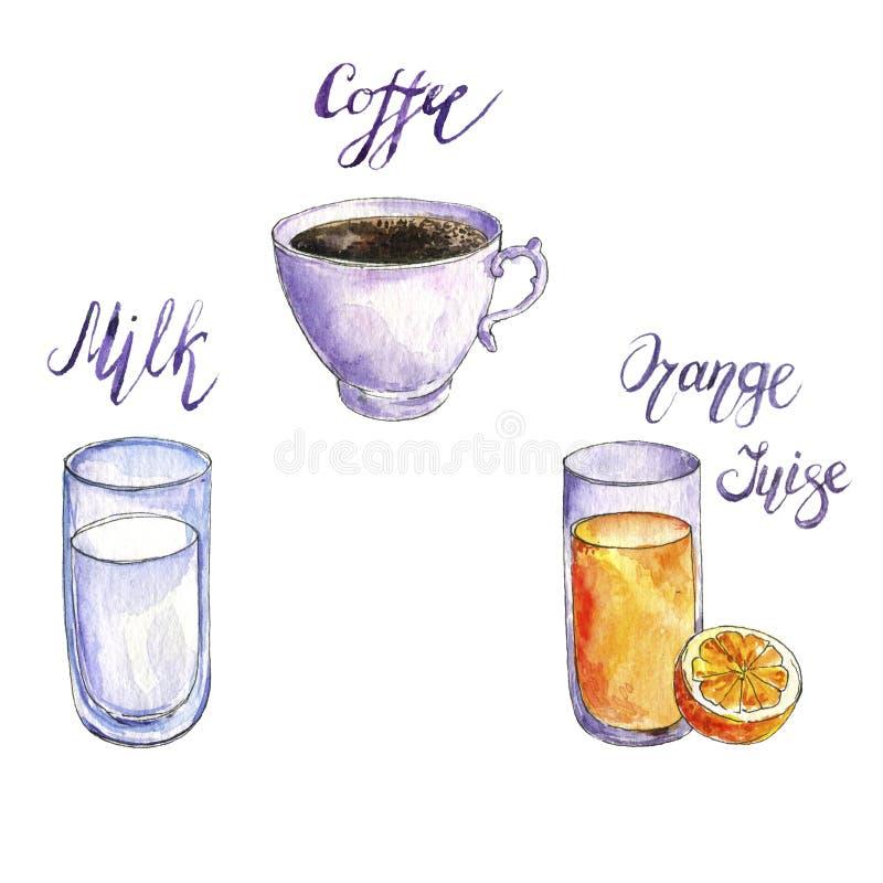 Waterverf drawng dranken stock illustratie