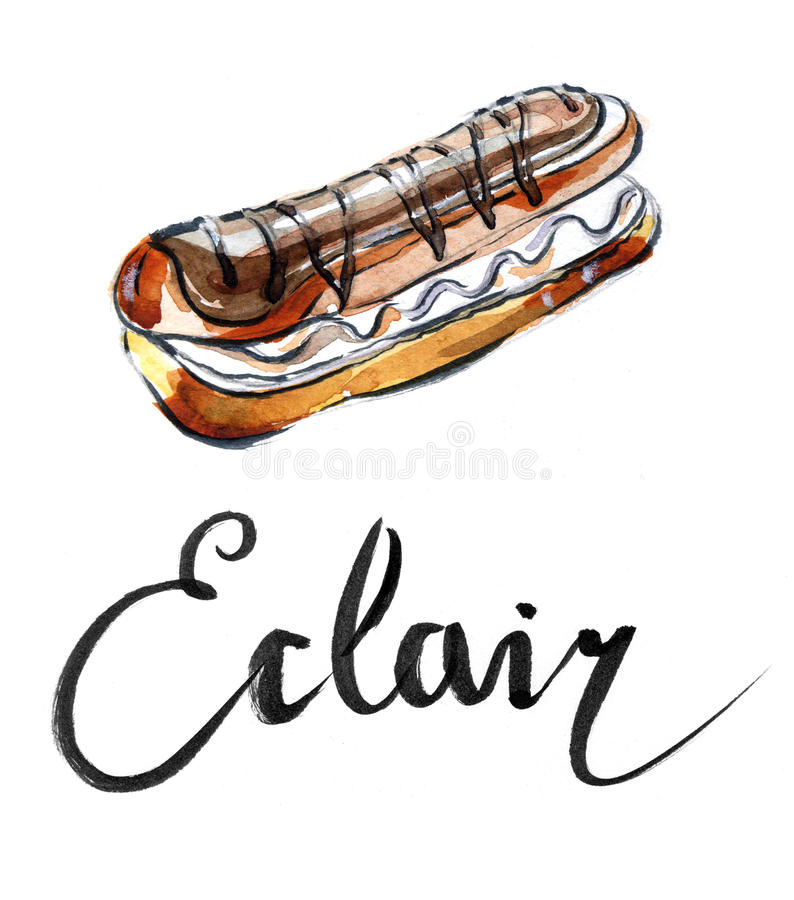 Waterverf eclair stock illustratie