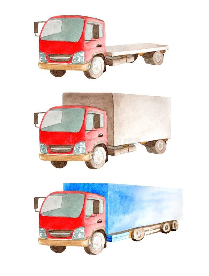Waterverf een inzameling van vrachtwagens met een rode cabine, maar verschillende open en gesloten organismen op een witte achter royalty-vrije illustratie