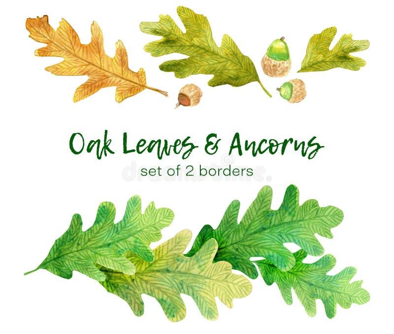 Waterverf eiken bladeren en ancorns De reeks van 2 overhandigt getrokken grenzen vector illustratie