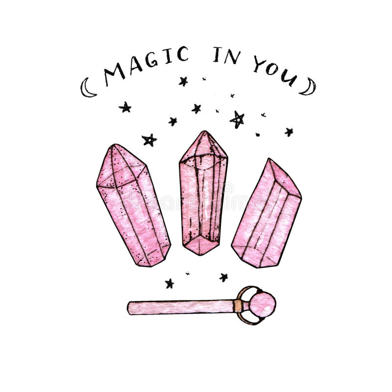 Waterverf en inkthand schilderde roze kristallen en toverstokje royalty-vrije illustratie