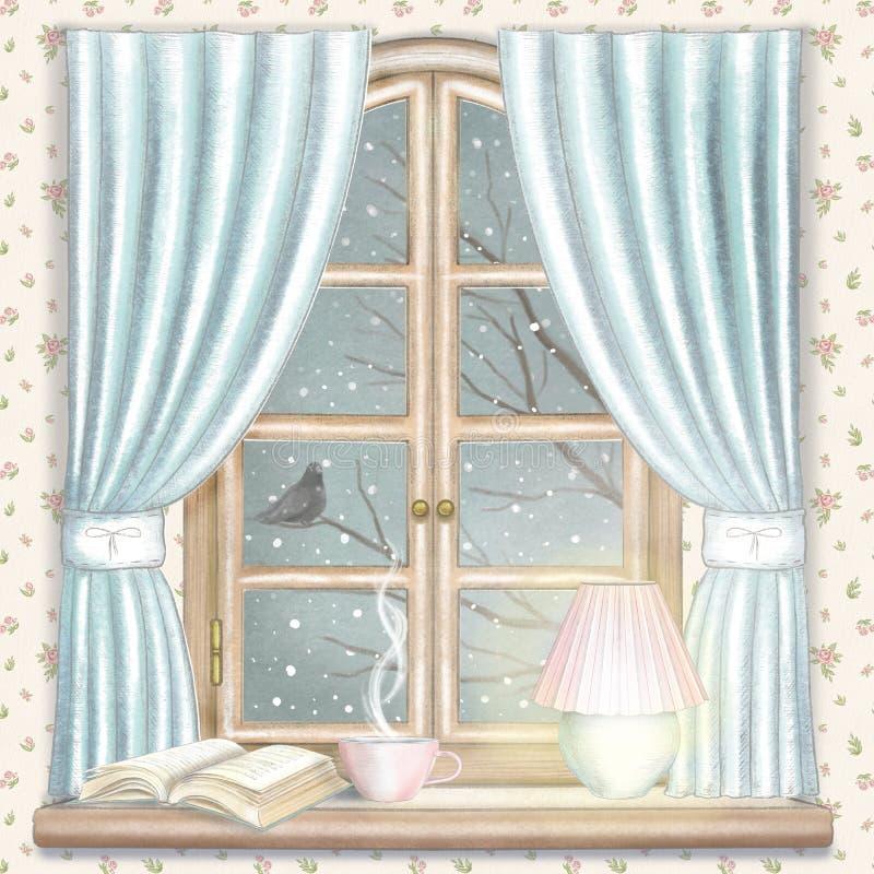 Waterverf en loodpotlood grafische samenstelling met thee, gloeiend lamp en boek op het venster met het landschap van de nachtwin vector illustratie