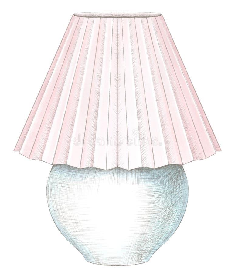 Waterverf en potloodtekening met schemerlamp met roze lampekap royalty-vrije illustratie