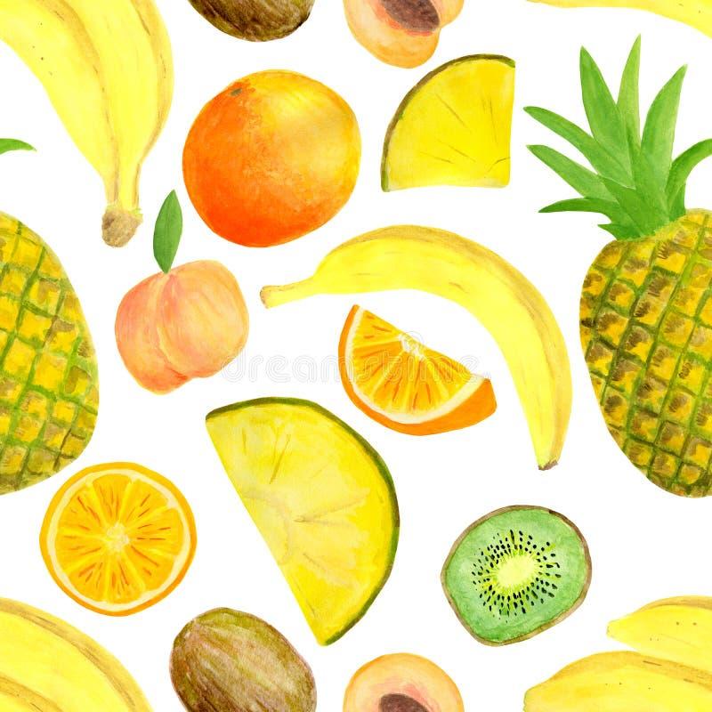 Waterverf exotisch tropisch vruchten naadloos patroon Hand getrokken die banaan, ananas, kiwiplak, perzik, sinaasappel op wit wor royalty-vrije illustratie