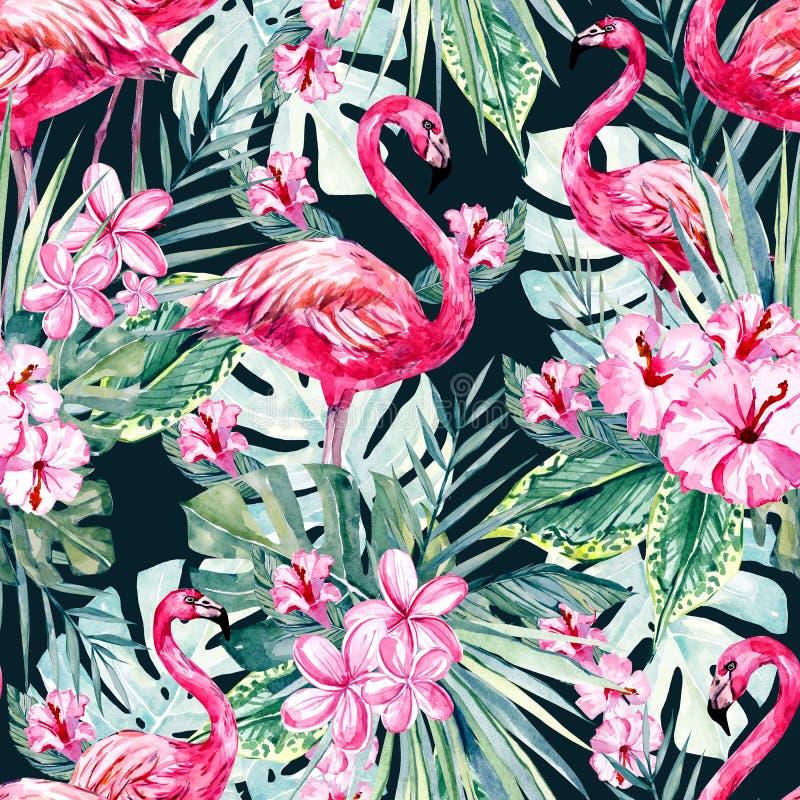 Waterverf gaat het tropische bloemen en flamingo naadloze patroon, kleurrijke exotische de zomerdruk met bloemenelementen weg royalty-vrije illustratie